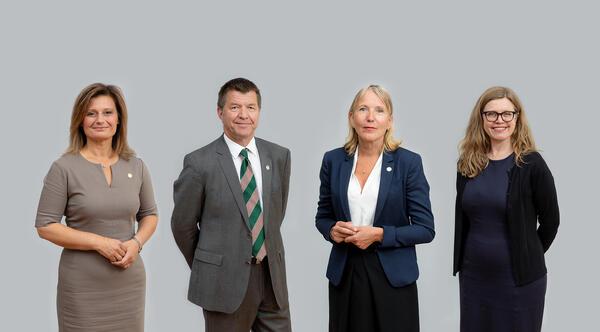UiBs rektorat. Fra venstre: Pinar Heggernes, Gottfried Greve, Margareth Hagen og Annelin Eriksen