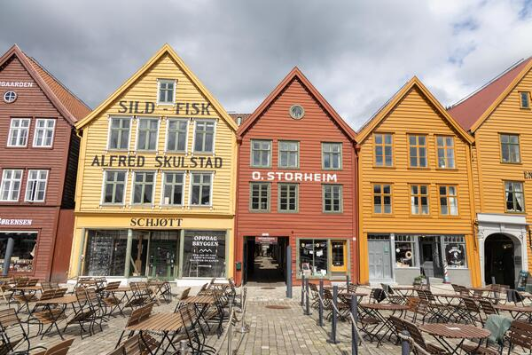 Bilde av trehus på Bryggen i Bergen