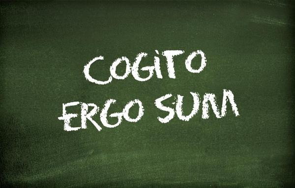 "Blackboard with the text ""Cogito ergo sum"""