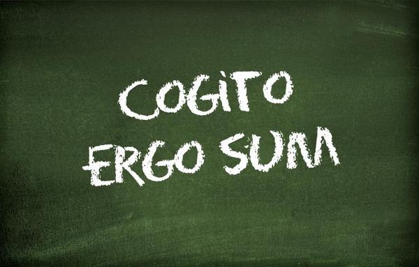 "Blackboard with the text ""Cogito ergo sum"""
