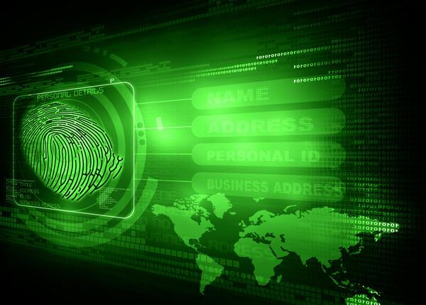 fingerprint on a digital picture of the globe