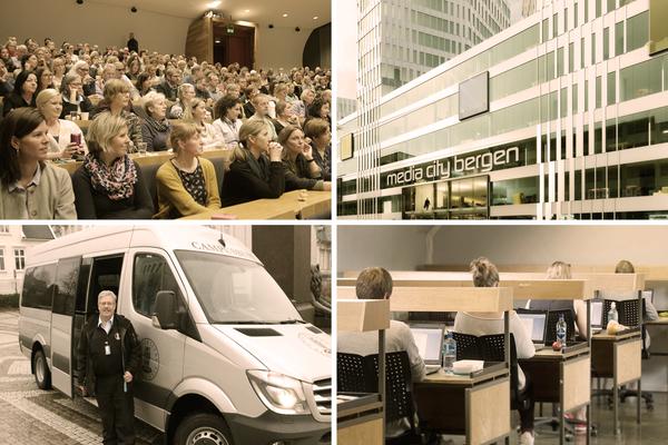Bildecollage av campusbussen, digital eksamen, ansatte og en skisse til Media City Bergen
