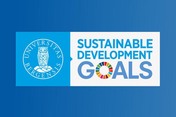 Logo for SDG Bergen on a blue background