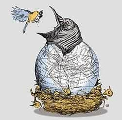 Poor bird feeding rich bird