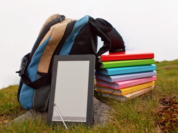 Ein sekk, e-lesar og bøker i forskjellige fargar ligg i naturen.