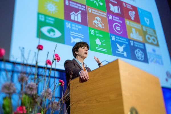Professor Katherine Richardson from the University of Copenhagen speaking at the second national SDG Conference Bergen in February 2019.