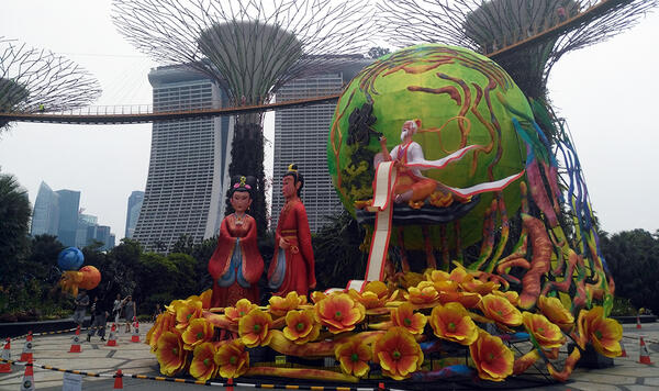 Ritual figures and futuristisc park, Singapore