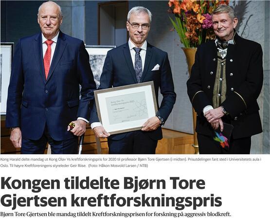Bjørn Tore Gjertsen får Kongens Kreftforskningspris 2021