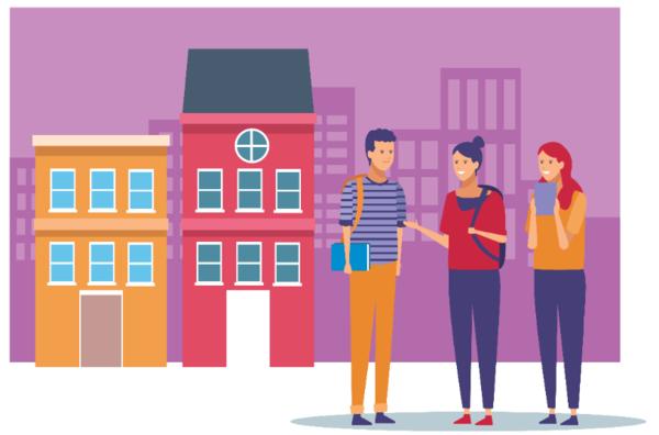 Grafisk illustrasjon tre personer står foran to bygninger