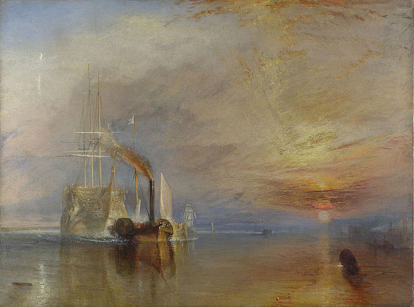 Bildet viser et seilskip som trekkes av et dampskip