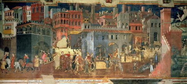 "Frescomaleri i rådhuset i Sienna, ""Palazzo Publico"", Ambrogio Lorenzetti ..."