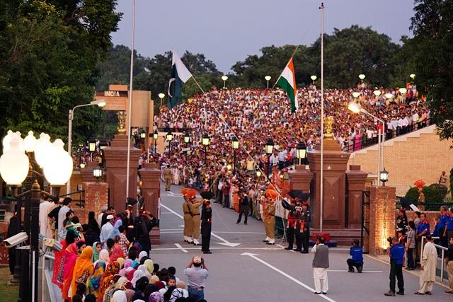 The evening flag lowering ceremony at the India-Pakistan International Border near Wagah. Taken from the Pakistani side.