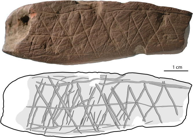 Engraved stone from Blombos