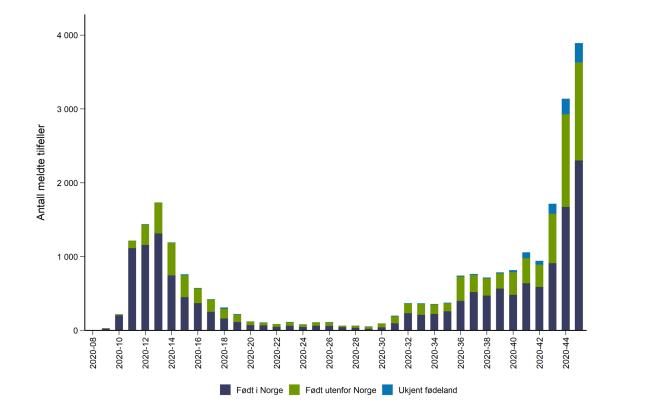 Graf som viser antall smittede per uke og opprinnelses/fødeland