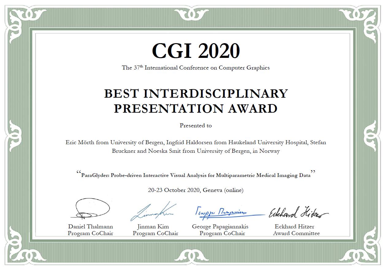 Diploma for best interdisciplinary presentation award