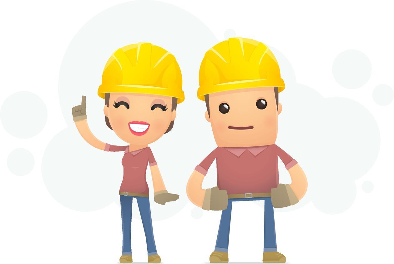 Kvinne og mann med arbeidshjelm