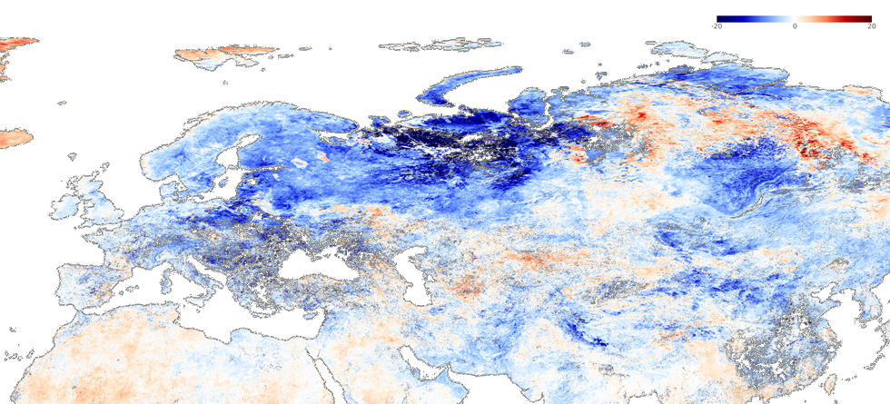 MODIS - Freezing air from the Arctic