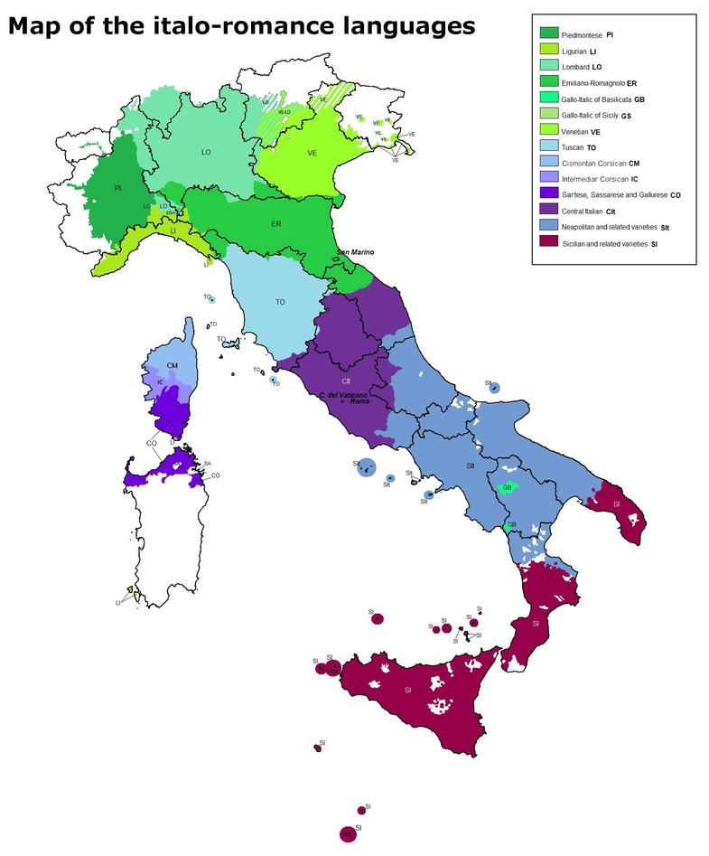 Map of the italo-romance languages.