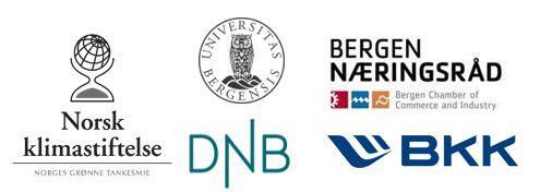 Partneres logo: Norsk klimastiftelse, Universitetet i Bergen, Bergen Næringsråd. DNB, BKK.