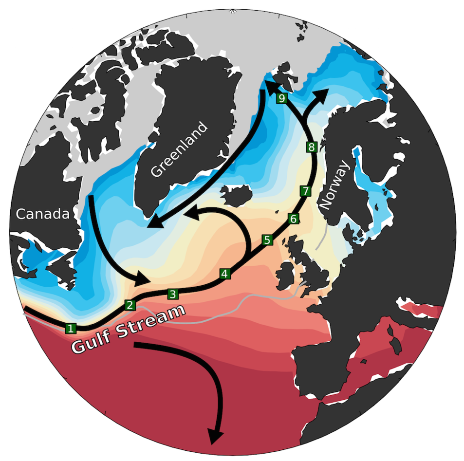 Golfstrømmens forlengelse mot Arktis.