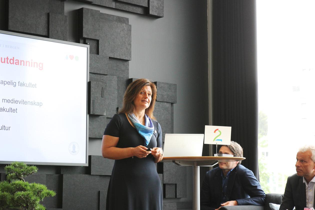 Pinar Heggernes, instituttleiar Institutt for informatikk, på Media City Bergen