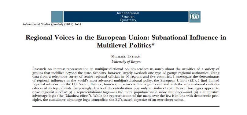 Michaël Robert Tatham/International Studies Quarterly