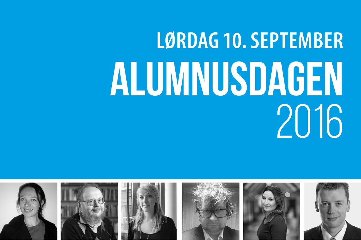 Logo - Alumnusdagen16. Blå bakgrunn og hvitebokstaver. bilder av deltagere