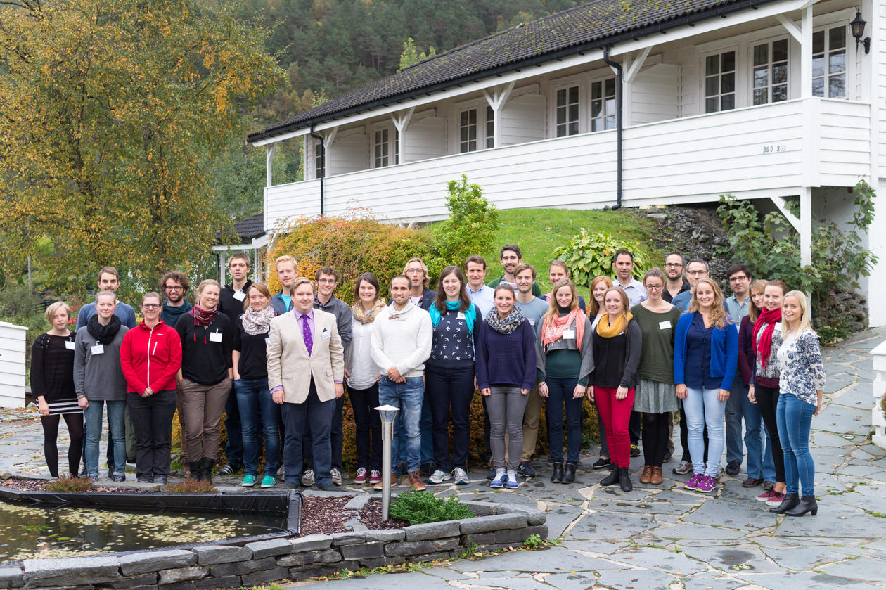 Pic of Group outside Fjordslottet at Osterøy