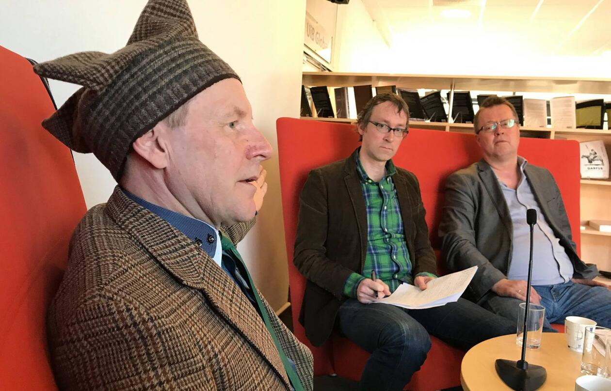 Sami activist and artist Andy Somby, Aaron John Spitzer and Per Selle, UiB