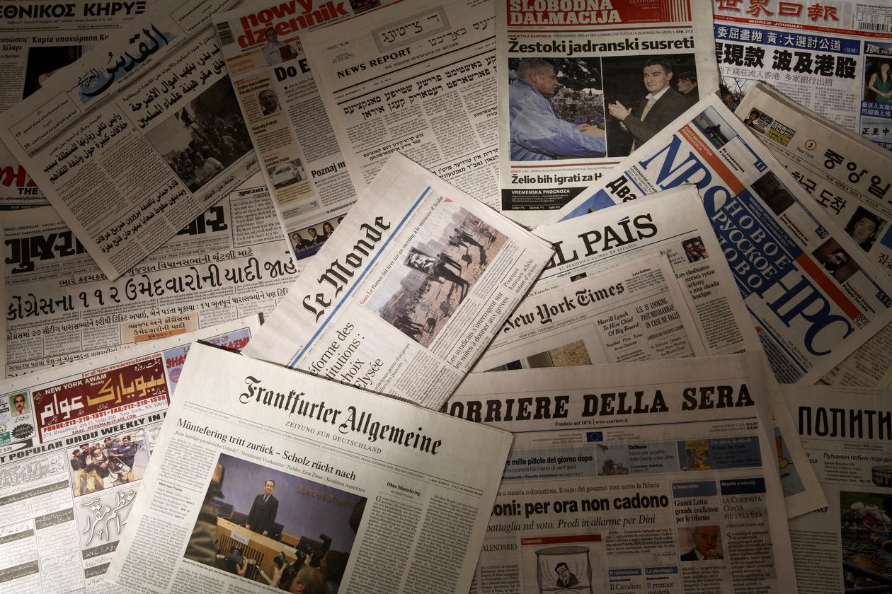 Collection of newspapers in a number of languages, used to illustrate an article about how the EU is lost in translations.
