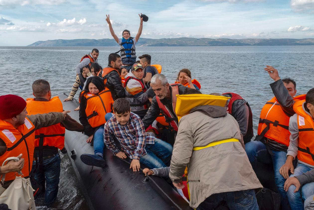 Flyktninger ankommer Lesbos, Hellas