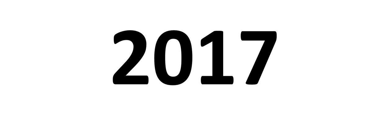 2017- årstallet i svart mot hvit bakgrunn