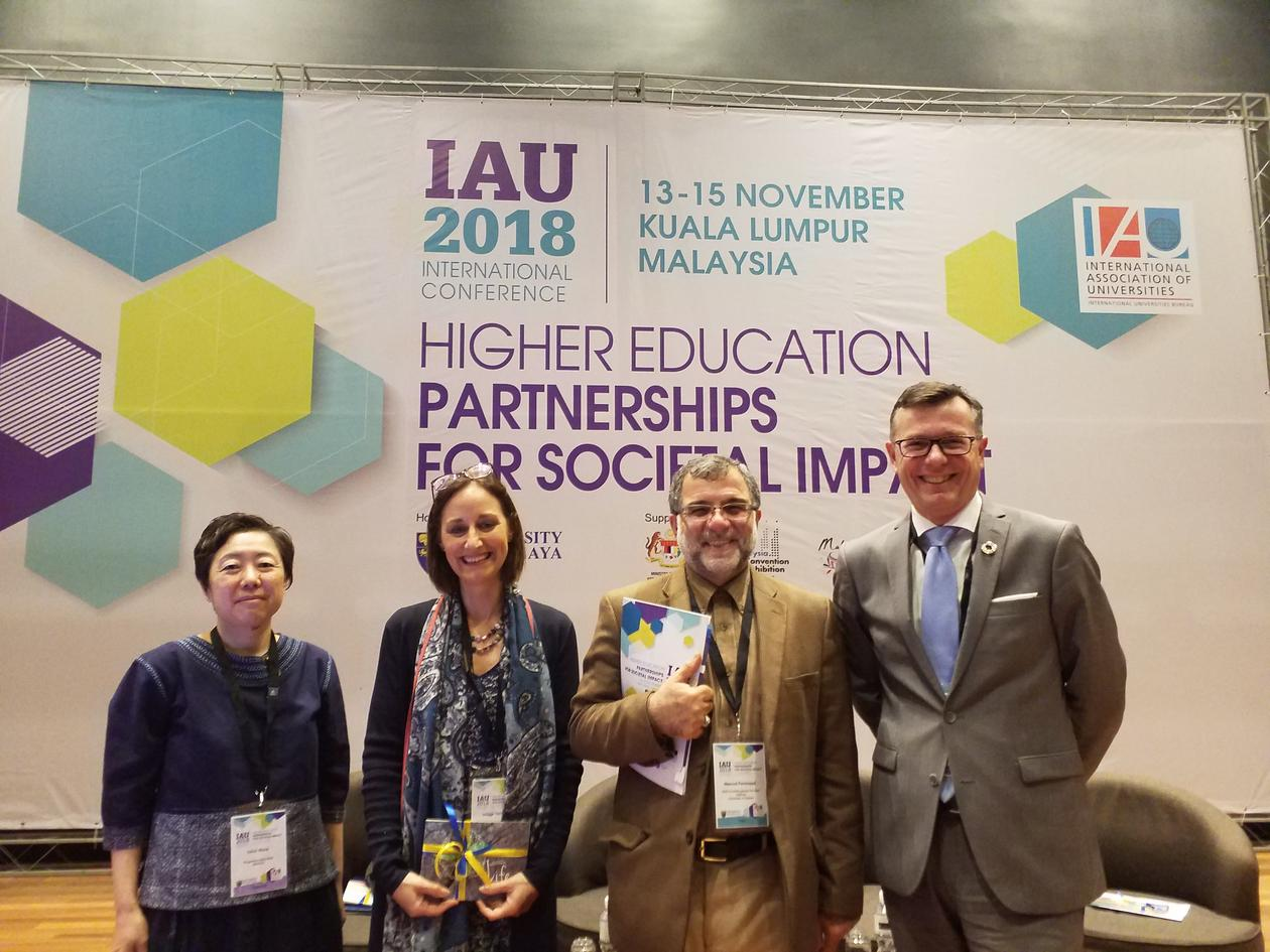 Rector Dag Rune Olsen at IAU International Conference 2018 with chair Hilligje van't Land and fellow panellists Ushio Muria and Masoud Parsi Nejad.