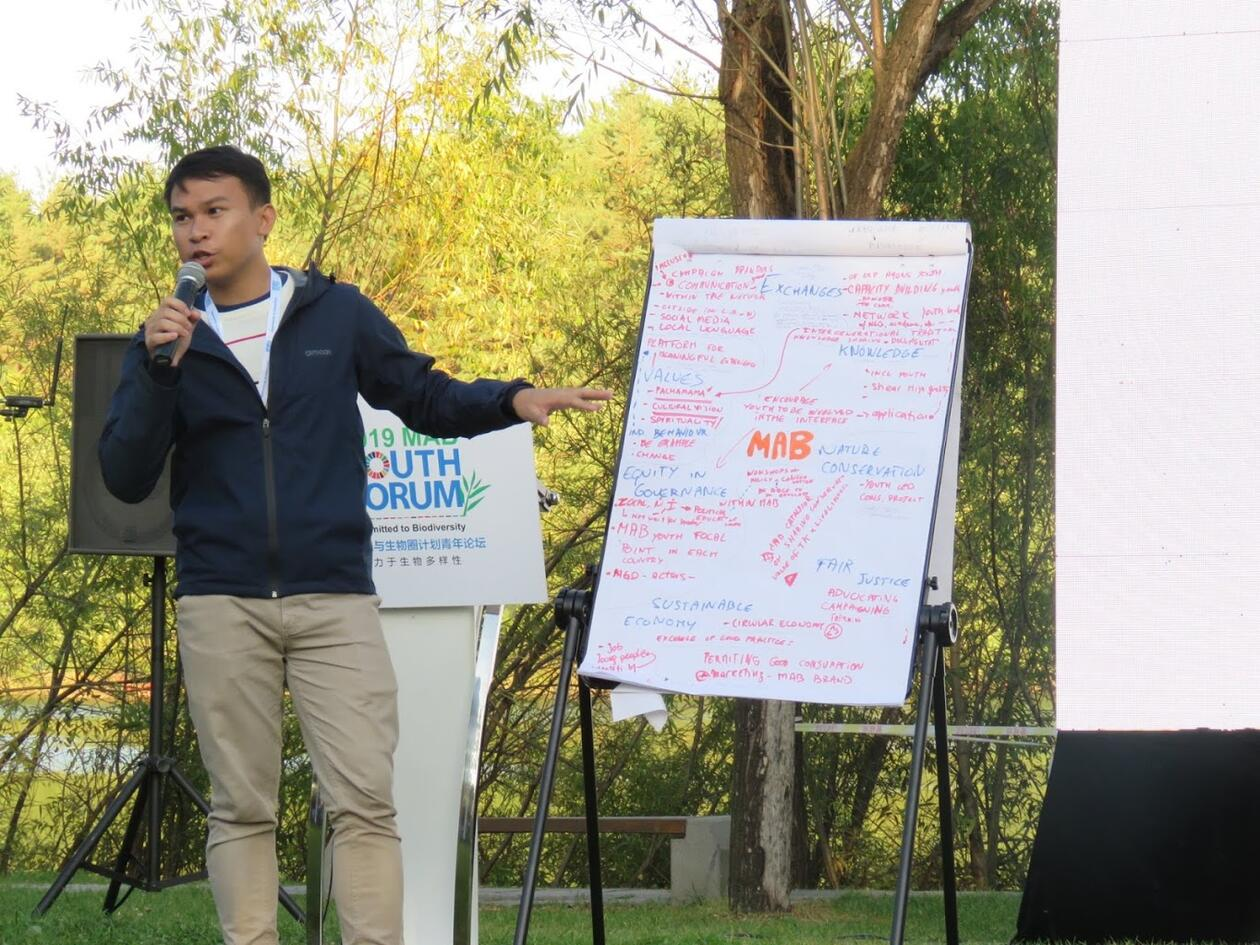 Kier Mitchel Pitogo presents workshop outcomes at the MAB workshop presentation