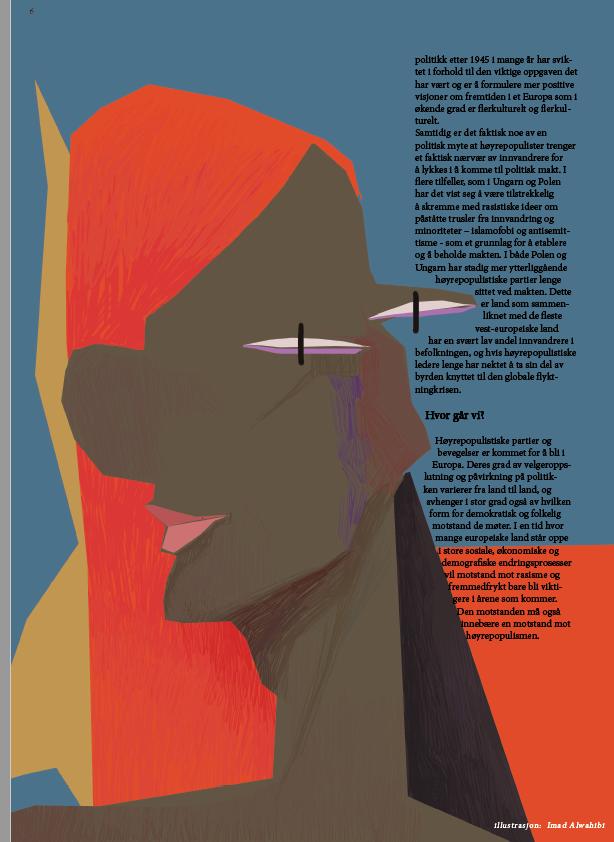 Ilustrasjon av eit Picasso-lignende hode i gult, rødt og brunt, på blå bakgrunn. Tekst til høyre for illustrasjonen.