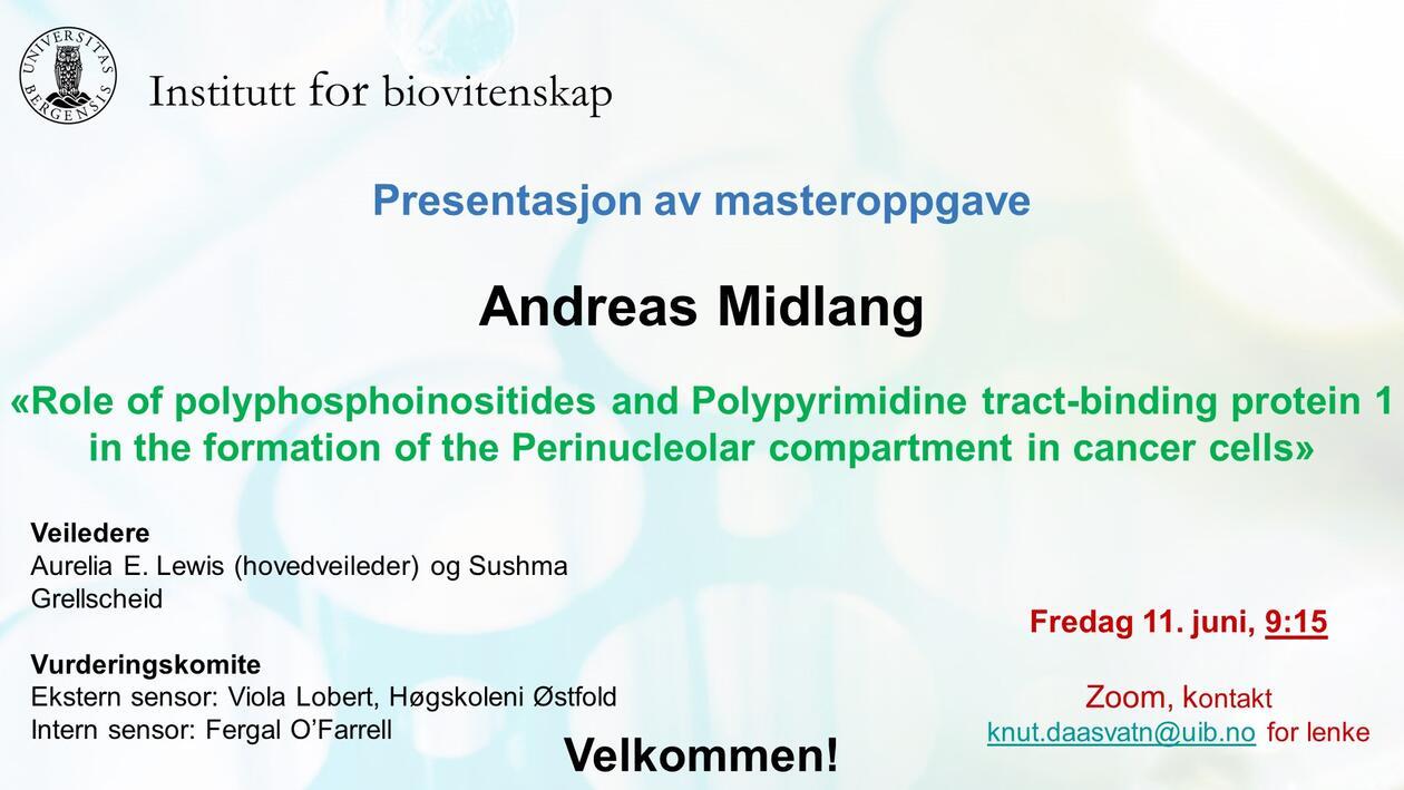 Posteroppslag om presentasjonen