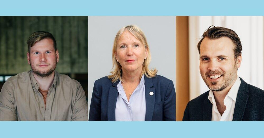 Forsker og forfatter Alexander Sandtorv, Margareth Hagen rektor på UiB og Arne Vestbø generalsekretær i Norsk faglitterær forfatter- og oversetterforening.
