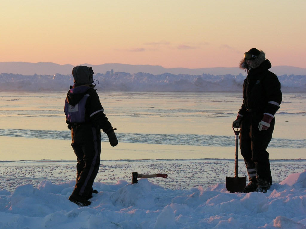Field work on the Arctic sea ice. Photo: Lars Henrik Smedsrud