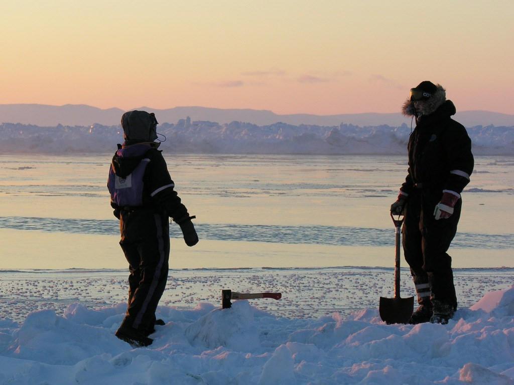 Field work on the Arctic sea ice. Photo: Lars Henrik Smedsrud