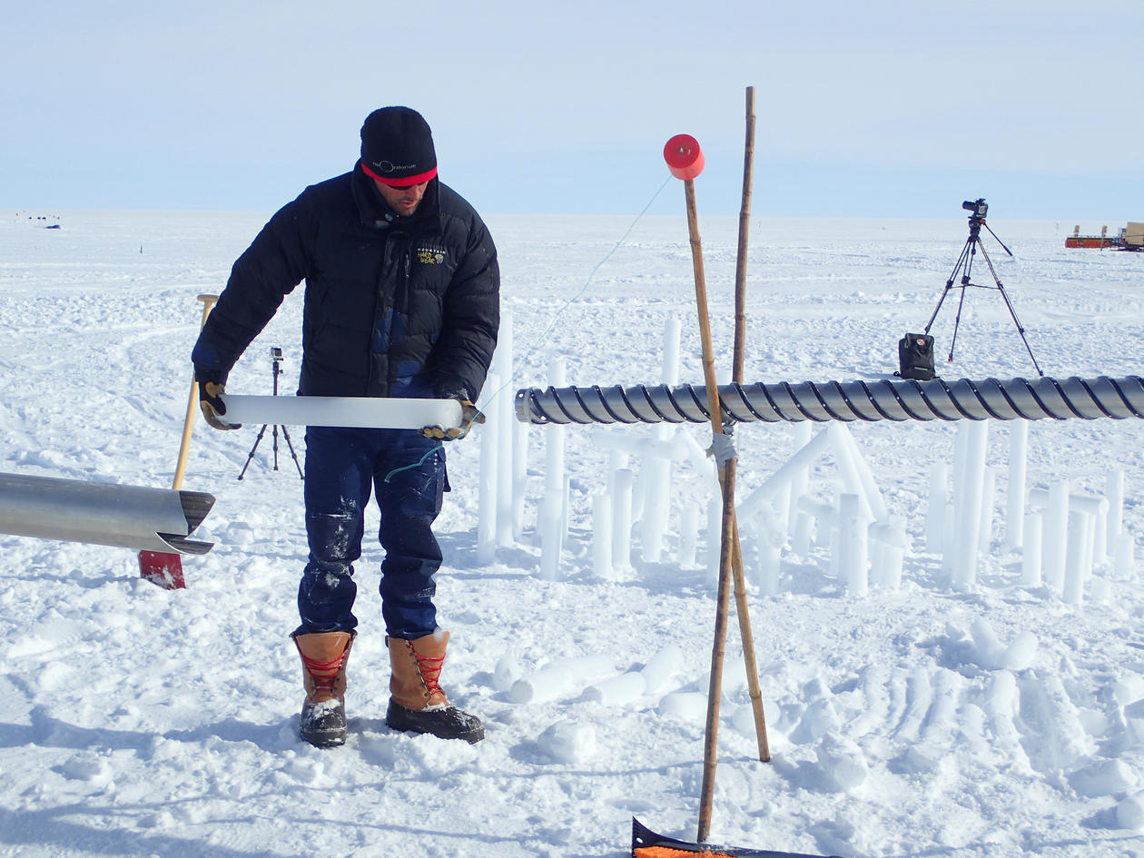 Ice core drilled at the top of the Greenland ice sheet, at the East GRIP research station.