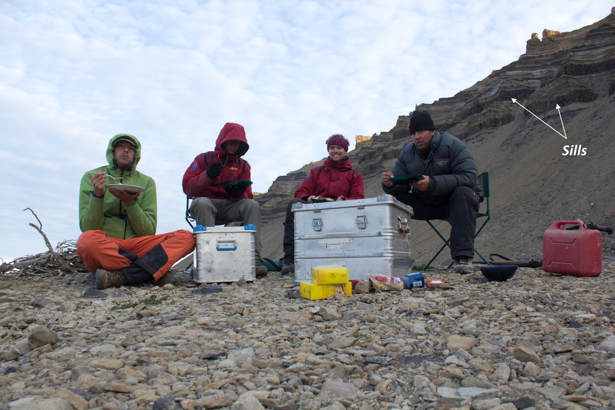 Dinner in the field. Jameson land is a cold and inhospitable place, which lead to little vegetation and clearly exposed geology. From the left: Gijs A. Henstra, Björn Nyberg, Christian Haug Eide, John A. Howell.