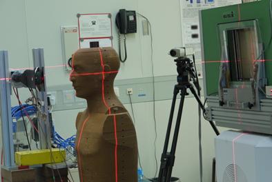 Måling av stråledose ved karbonterapi. GSI-Darmstadt, Tyskland.