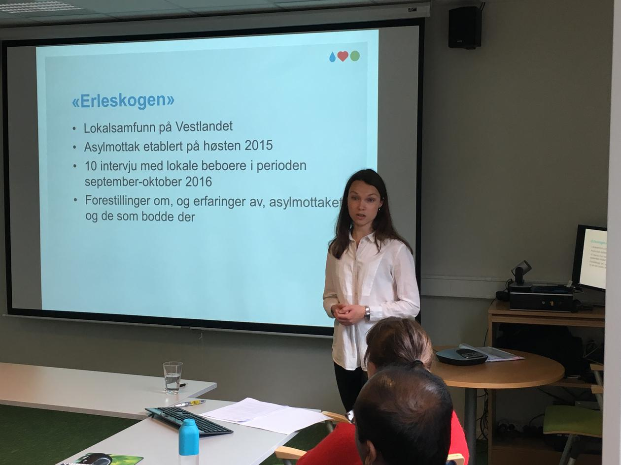 Kristine Wenaas presenterer funna sine for UDI-tilsette