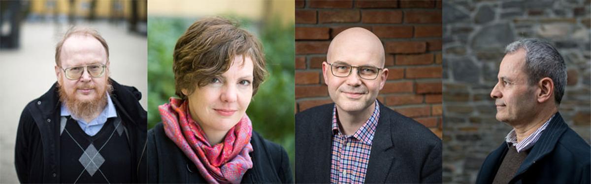 Bilde av fire professorer ved HF