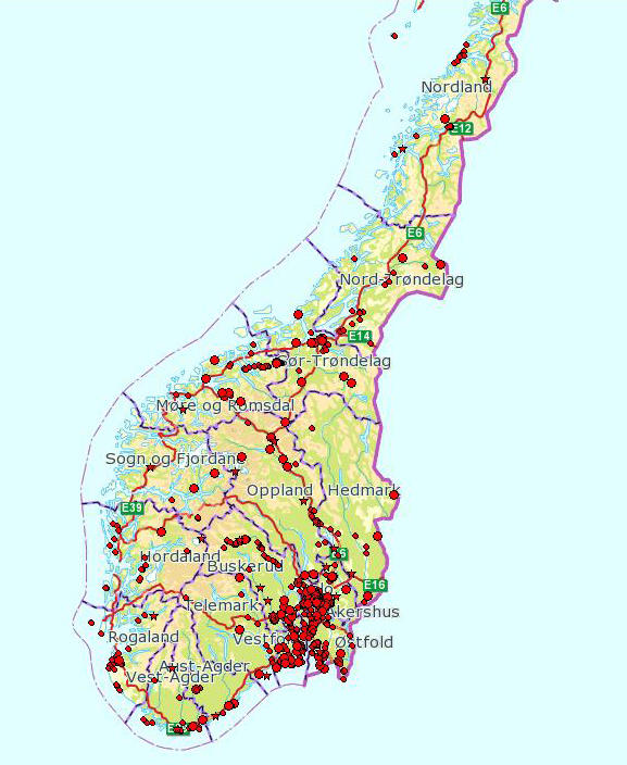 Distribution map of 7-spot ladybird in southern Norway