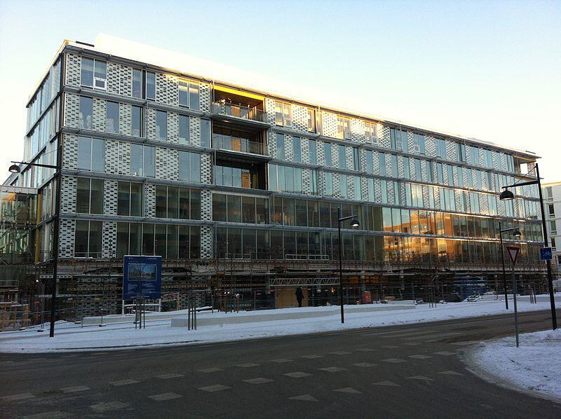 Bygget Kunnskapssenteret ved St. Olavs Hospital i Trondheim sett utenfra.