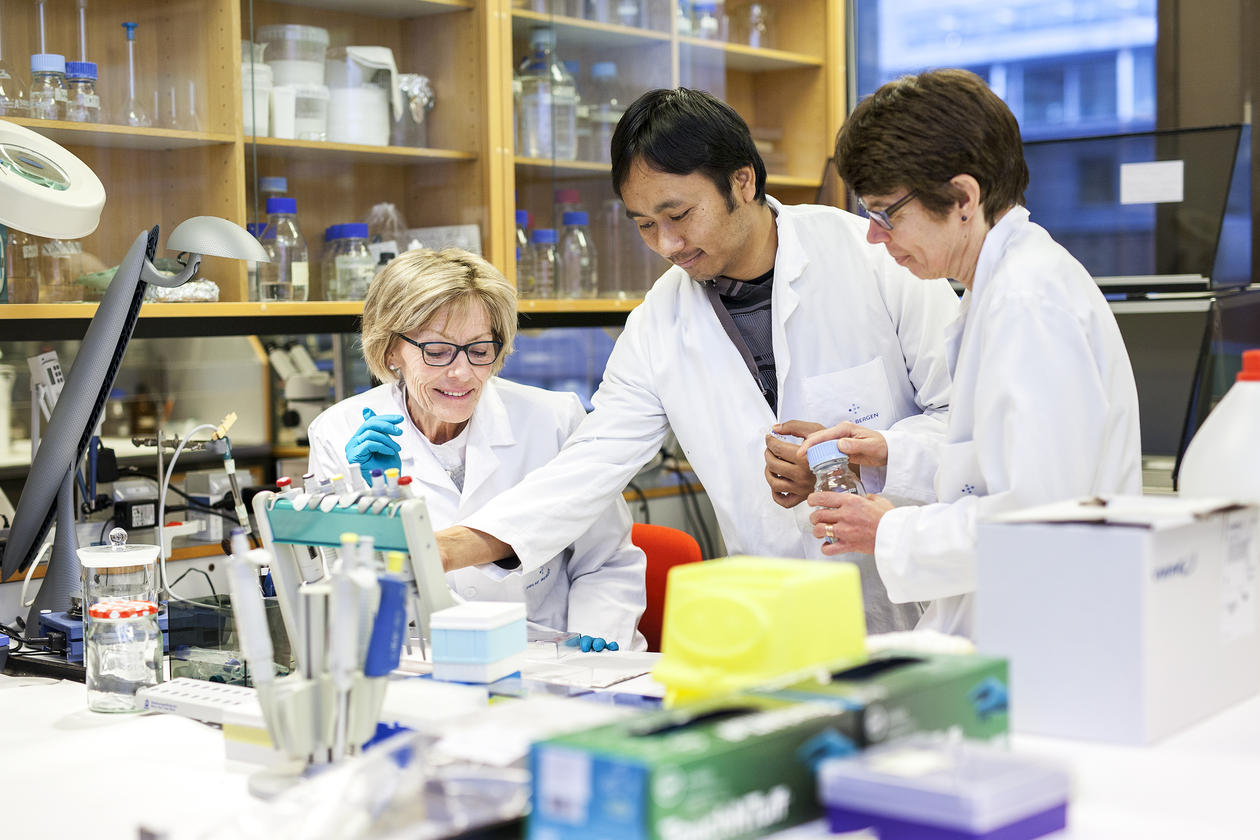 Professor Johannessen and staff members in the lab.