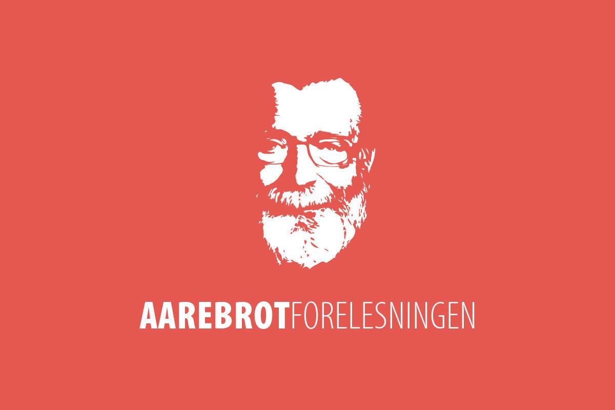 illustrasjon for Aarebrotforelesningen, ansiktet til Frank Aarebrot med rød bakgrunn