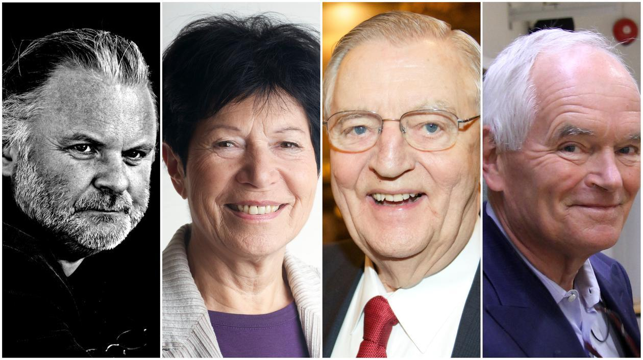 New honorary doctors at University of Bergen: Author Jon Fosse, Professor Helga Nowotny, ex politician Walter F. Mondale and business man Trond Mohn.
