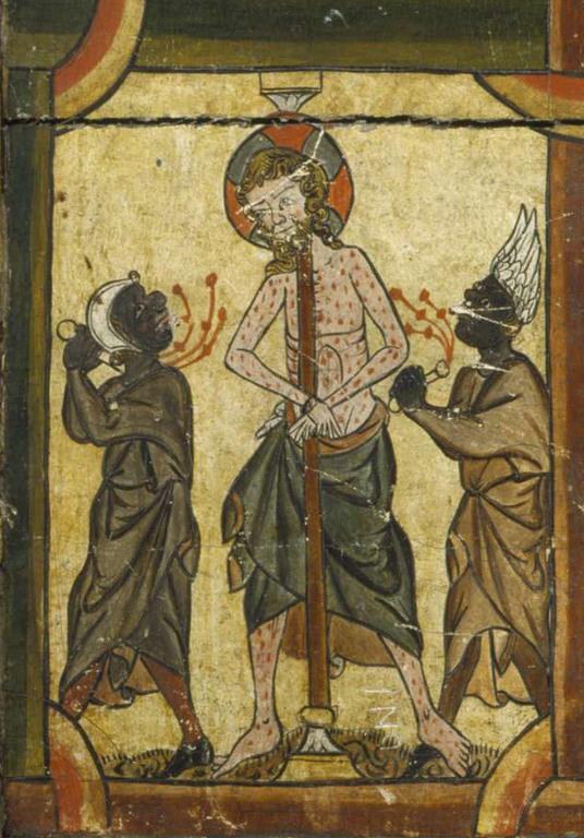 Detalj av alterfrontale fra Røldal kirke, ca. 1300. Bergens Museum.